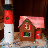 Gingerbread Lighthouse For the Boston Christmas Festival 2012. House is Gingerbread with Gum Paste and candy accents. Lighthouse is Gingerbread with royal icing...