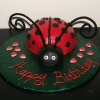 Lady Bug My coworkers cousin is obsessed with Lady Bugs so she asked if I could make her a small cake for 4 people. I used the half circle pan. I...