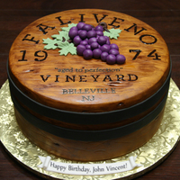 "Wine Barrel Top A little vino, would be keeno! This is an 11"" red velvet cake with cream cheese filling. All fondant. Wood grain painted with gel..."
