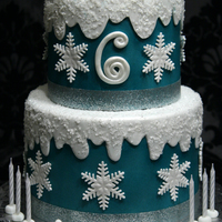"Frozen Theme 8"" & 6"" rounds covered in fondant and airbrushed. Fondant and gumpaste accents. My client is supplying the toppers. :-)"