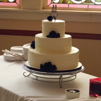 Rustic Cream & Navy Wedding Cake