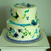 Butterfly Birthday Cake Buttercream with gumpaste butterflies, all hand painted. Caramel Apple flavor.