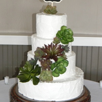 Rustic Wedding Cake With Succulents The topper is a little chalkboard with their initials on it and the bride bought the succulents at Michaels. My husband did the stand for...