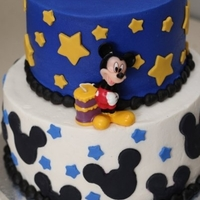Mickey Mouse The boy I made this for loves Mickey Mouse. This was an 8 inch and 6 inch stacked cake covered in butter cream with fondant decorations....