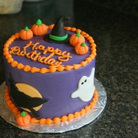 Halloween Birthday  I was asked to make a Halloween themed birthday cake and this is what I came up with. It is a 6 inch round covered in butter cream with...