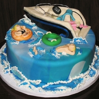 Boating/tubing Cake Bride wanted another cake to go with her wedding cake since she had more people than anticipated. Boat and figures are modeling chocolate,...