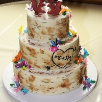 Tree Inspired Wedding Cake Bride brought me a photo of a birch tree inspired cake with initials carved into it. I used modeling chocolate wrapped around the...