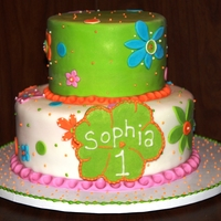 Sophia's Birthday 2 tier fondant decorated cake. Client requested a match to the party decorations, but couldn't do some elements due to copyright. Used...