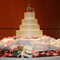 White Wedding Cake With Pearls 4 tiers, all SMBC, purchased pearls and fondant ribbon.