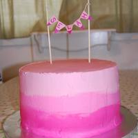Pink Ombré Baby Shower Cake WASC tinted in 3 shades of pink with ombré vanilla buttercream.