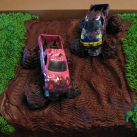 Mudding Cake The mud is made of chocolate ganache. You can make some great tire tracks with that stuff. : )