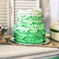 Mint Ombre` Ruffled Wedding Cake