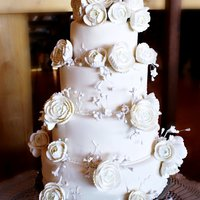 White Ranunculus Wedding Cake