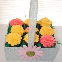 Cupcake Flower Basket Cupcakes topped with tip 104 flowers placed in a basket to look like a bouquet.