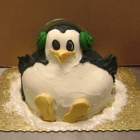 "Penguin Cake Penguin cake: from my series of what you can do with a double layer 8"" cake and a bowl of buttercream in 20 minutes.This one has a..."