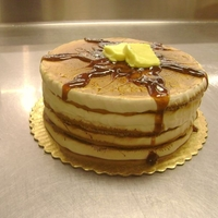 "Stack Of Pancakes another cake in my series of: what you can do with a double layer 8"" cake and a bowl of buttercream in 20 minutes."