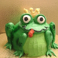 Frog Or Prince Cake 8-inch 2 layer cake carved to be a frog.