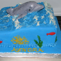 Dolphin Cake Dolphin is made from RKT cake covered with fondant and buttercream waves.I got my inspiration right here on CC for the look of this cake....