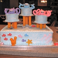 Triplets Turn 3! I made this cake for a good friends triplets, who were turning 3. I tried to keep everything in 3's, including shark fins, stingrays...