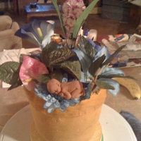 Flowerpot With Baby   I created this cake to look just like a flower pot than I add the mini chocolate baby