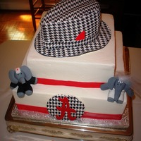 Alabama Crimson Tide Grooms Cake The Groom wanted a Houndstooth Hat made of Cake for his topper and I didn't know if I could do it. Well, I was very happy with how it...