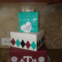 Sweet 16 Gift Boxes Cake Made for a volleyball player wanting to got to Texas A& M. She was getting a gift from Tiffany's for her sweet 16. This was my...