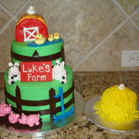 Farm First Birthday I made this for my nephew's first birthday, along with farm animal cupcakes. Buttercream with fondant accents. The barn is fondant...