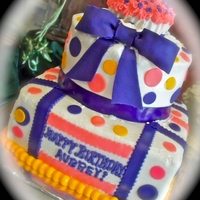 Purple Bow/dot Tiered Cake Butter Cream Iced w/fondant bow & dots