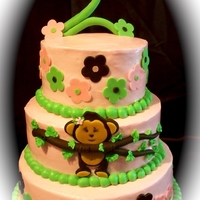 3 Tiered Monkey Cake Almond Cream Cake with Almond Butter Cream icing with fondant art work