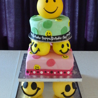 Smiley Cake Thanks to nettiecakes for inspiration. It is a vanilla cake (bottom) and chocolate on the top layer. Covered in fondant. Seperators are...