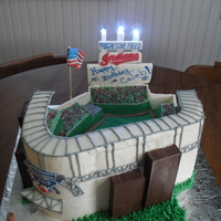 My 1St Icing Smiles Cake!!!  So excited to participate in this program!! The recipient asked for an Indian's themed cake - so I gave him the stadium! :) The walls...