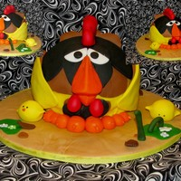 Chicken Cake   Red velvet cake with buttercream icing, fondant covered and accents