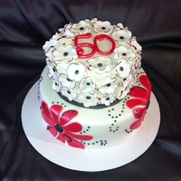 50Th Birthday Cake It Was Requested To Be Redwhiteblack And Flowery 50th Birthday cake. It was requested to be red/white/black and flowery.