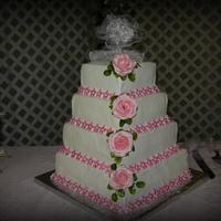 Wedding Cake bc icing small flowers fondant airbrushed pink silk pink flower accent