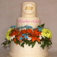 Flower Garden   A birthday cake for a lady turning 100. She loves very colourful flowers.
