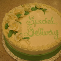 Buttercream Cake> Baby Shower   buttercream cake with chocolatef buttercream flowers are fondant