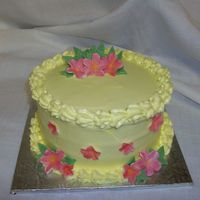 Karens Moms Day 08 W/C icing, gumpaste flowers and leaves. TFL!