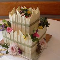 "Kristi's Wedding 10"" and 6"" cakes covered in B/C and then white chcocolate ganache. White chocolate ""fence"" peices attached to the sides..."
