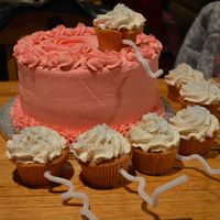 "This Is An Expecting Announcement Cake The Main Cake Was The Egg And The Cupckes Were The Sperm The Cakes Were Creme Brulee With This is an ""Expecting"" announcement cake. The main cake was the 'egg' and the cupckes were the 'sperm.' The..."
