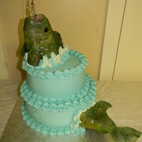 Bass Cake Fondant covered Rice Krispie fish. I have an actual fishing lure dangling in his mouth.