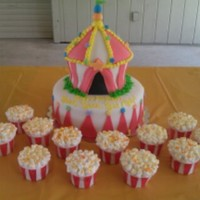 Carnival Theme Birthdaycupcakes W Marshmallows On Top To Look Like Popcorn Carnival Theme Birthday....cupcakes w Marshmallows on top to look like popcorn