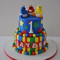 Baby Sesame Street Client showed a picture of a cake similar to this and wanted something like it.