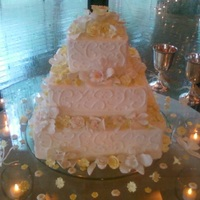 Square Yellow & White Flower Orchid Cake
