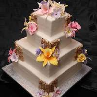 Orchid And Bamboo Wedding Cake