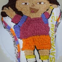 Dora The Explorer this was for my daughters 2nd birthday choc cake with basic buttercream stars urggg...... i dont like stars i dont i dont i dont haha