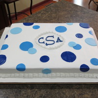 12 X 16 Magic Line Cake Pan Wasc Cake With Buttercream Icing Fondant Circles Made From Americolor Royal Blue In Different Shades   12 x 16 Magic Line cake pan. WASC cake with buttercream icing. Fondant circles made from Americolor Royal Blue in different shades.