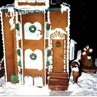 "Brownstone Building All gingerbread. Created with instructions in Good Housekeeping magazine. It's approx. 15"" tall."