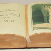 60Th Anniversary Photo Album Book I used Wilton's 11 x 15 book pan. Italian Cream cake w cream cheese icing. It's meant to look like an old photo album. I ordered...
