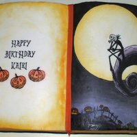 Kairi's Nightmare Before Christmas Book Cake I used Wilton's 11 x 15 book cake pan. I forget what flavor the cake was lol. BC icing with RBC sides. The pages were done with...