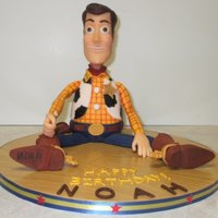 Noah's 3D Toy Story Woody I used 2 of the cakes from Wilton's Mini Wonder Mold, one up one down, for the body (w/a little trimming)-- crumb coated and covered...